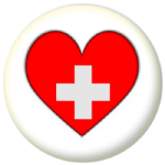 Switzerland Country Flag Heart 25mm Button Badge